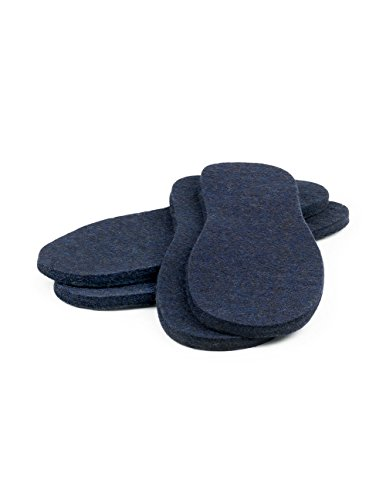 Mali Felt - The Felt Store Mens Insoles Blue, 2 Pack, Size 10