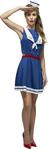 [Smiffy's Women's Fever Hey Sailor Costume, Cut Out Dress, Attached Underskirt and Mini Hat, Uniforms, Fever, Size 10-12,] (Petticoat Girls Halloween Costumes)