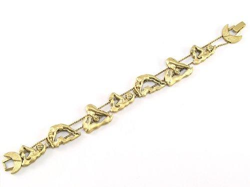Elegant 7.5 Inch Swimmers Gold Colored Metal Sliding Bracelet
