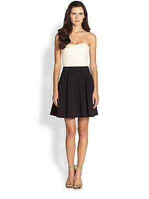DVF DIANE VON FURSTERNBERG CREAM BLACK AVEDON FLARE DRESS