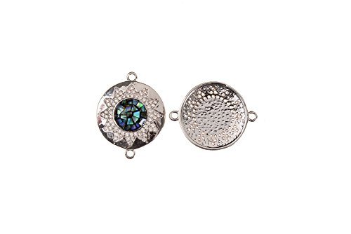 GOODBEAD 1pc Abalone Shell Inlay Center & Clear White Cubic Zirconia Micro Pave Flower/Sun Round Disc Connector | DIY Necklace, Choker, Bracelet |