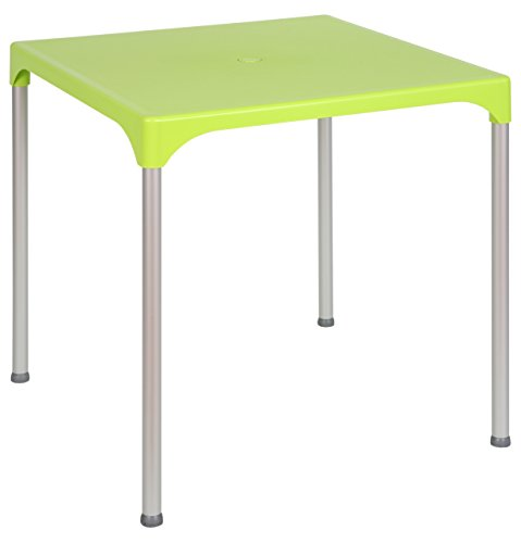 Tensai Prime Collection Durable Plastic Table with Removable Anodized Aluminum Legs, Lemon - Red Adirondack End Table