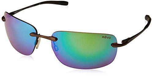 Revo Mens Polarized Sunglasses Outlander Rimless Frame 62 mm, Brown Frame, Green ()