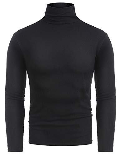 RAGEMALL Mens Basic Turtleneck Thermal Long Sleeve T-Shirt Sweatshirt Cozy Pullover Tops (Black, XXX-Large) (Cotton Turtleneck Shirt)