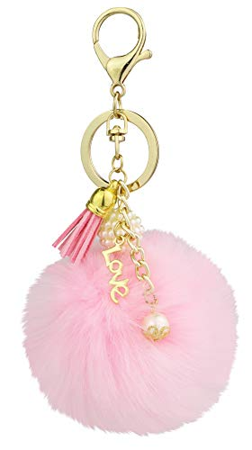 (Key Chain Accessories for Women - Pink Faux Fur Ball Charm and Artificial Pearl with Key)