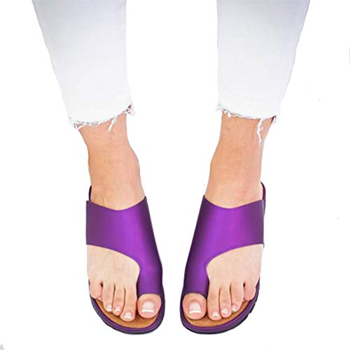 CCZZ Women Summer Wedges Platform Sandals Stylish Thong Flip Flops Ultra Comfort Slippers Toe Loop Flat Sandals Purple, 7