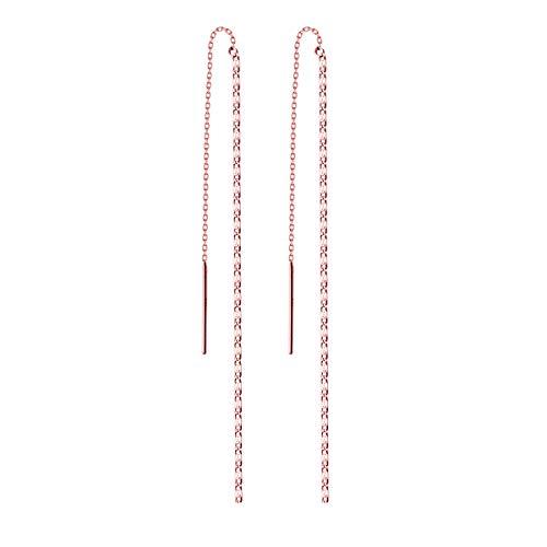 FarryDream 925 Sterling Silver Threader Earrings Chain Women Ear Line Earrings (Rose-Gold-Plated)