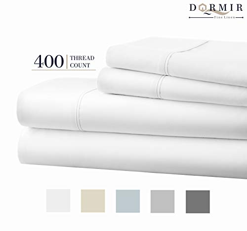 Dormir 400 Thread Count 100% Cotton Sheet Pure White King Sheets Set, 4-Piece Long-Staple Combed Cotton Best Sheets for Bed, Breathable, Soft & Silky Sateen Weave Fits Mattress Upto 18'' Deep Pocket