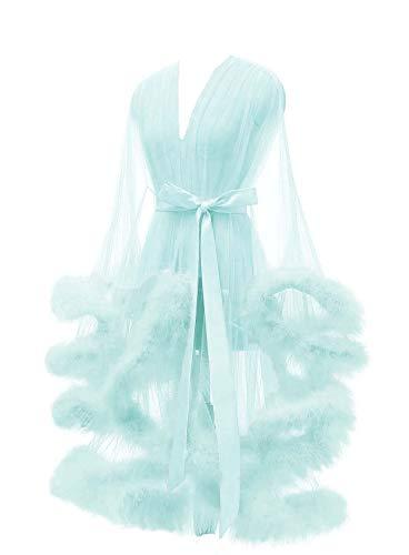 Lamosi Sexy Feather Robe Illusion High Low Boudoir Robe Nightgown Bathrobe Bridal Lingerie Wedding Scarf Turquoise Size Small]()