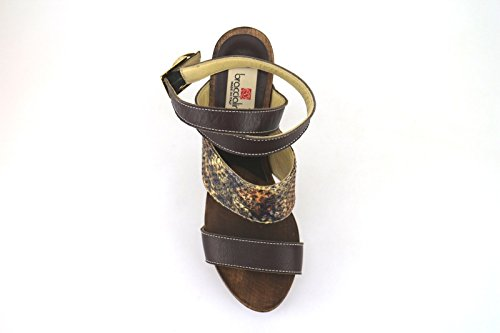 Braccialini Zapatos Mujer Sandalias Marrón Cuero Textil AH380 (37 EU)