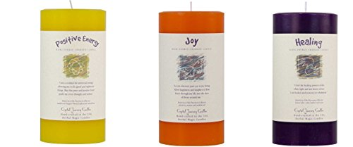 Crystal Journey Reiki Charged Herbal Magic Pillar Candle with Inspirational Labels - Bundle of 3 (Positive Energy, Joy, Healing) Each 6
