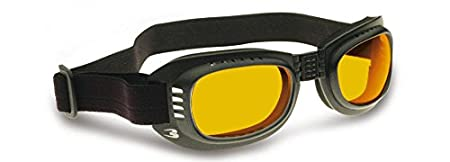 Bertoni Occhiali Moto con Lenti Antiurto Antiappannanti Antifog - Elastico Regolabile - AF110B by (Nero Perla Opaco) - Maschera Moto per Casco Bertoni Eyewear