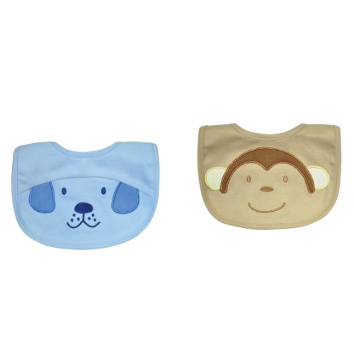 green sprouts 2 Pack Animal Absorbent Bib, 3-6 Months, (I Play Toddler Bib)