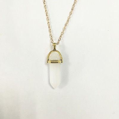 Gemstone Pendant for Necklace Natural Quartz Crystal Point Chakra Healing Stone (Milky) (Crystal Milky Quartz)