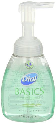 Dial 1325977 Basics Hypoallergenic Foaming Hand Lotion Soap Manual Pump, 7.5oz Bottle (Pack of 8) ()