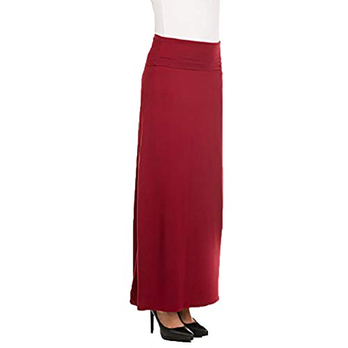 - X America Foldover Long Knit Maxi Skirt Junior and Plus Size Maxi Skirts for Women, Made in USA Cabernet