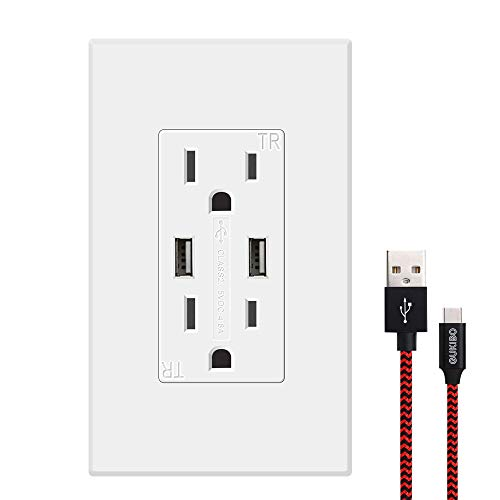 GUKIBO USB Outlet Receptacle, High-Speed 4.8A USB Charger Outlet 15A Tamper-Resistant Duplex Receptacle with 2 Wall Plates & USB Cable, UL-listed Electrical Outlet with Dual USB Ports