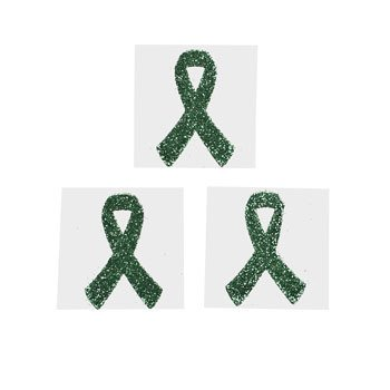 12 Green Awareness Ribbon Tattoo Stickers by FX -