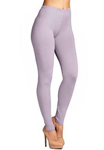 Leggings Mania Women's Plus Solid Color Full Length High Waist Leggings D Lilac
