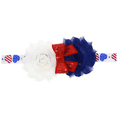 Shusuen Headbands Hair Bow Elastics for Baby Girls Newborn Infant Toddlers Kids 4th of July Flag Day Hairbands]()