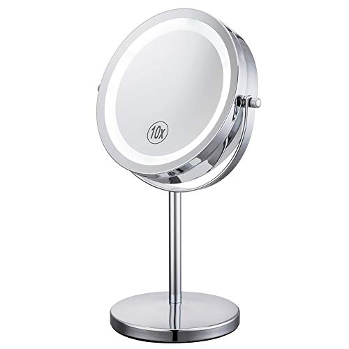 Lighted Makeup Mirror – 7″ LED Vanity Mirror 10X Magnifying Double Sided Swivel Cosmetic Mirror Chrome Finish ALHAKIN