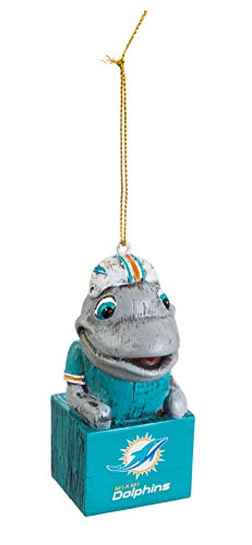 Team Sports America Mascot Ornament, Miami Dolphins, Set of 2 -