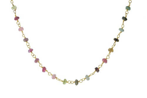 Handmade Silver Wire Chain - Gold-Tone Sterling Silver Wire Natural Multicolored Tourmaline Gemstone Bead Chain Stone Link Handmade Rosary Necklace 16 Inches