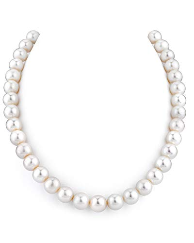 THE PEARL SOURCE 14K Gold 9.5-10.5mm AAA Quality Round White Freshwater Cultured Pearl Necklace for Women in 18