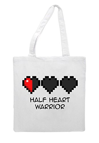 Health 8 White Pixel Heart Statement Gaming Warrior Retro Low Half Bit Tote Shopper Bag SatRqT