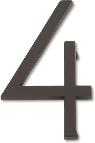 Oil Rubbed Bronze House Numbers - Atlas Homewares AVN4-O Modern Avalon 4.5-Inch No. 4 House Number, Aged Bronze