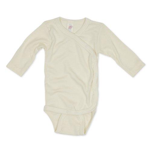 Engel Bodysuit Merino Wool Silk Baby Newborn Body Kimono (Natural, 6-12 Months)