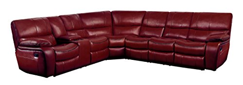 Homelegance Pecos 4 Piece Reclining Sectional Sofa with Cup Holder Console Leather Gel Match, Red