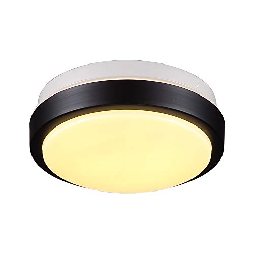 Wtape 8.27-Inch Mini Energy Saving Round LED Ceiling Lights, 9W 540LM 3000K Warm White, Lighting for Bathroom, Hallway, Black Finish, Flush Mount Ceiling Light (Black Flush Mount Finish)