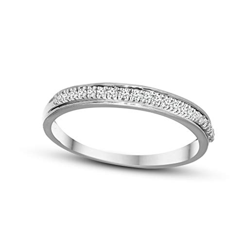 100% Pure Diamond Band Ring For Women Natural Diamond Rings 10K White Gold Real Diamond Rings 0.07 Carat I2-I3-HI Real Diamond Band Rings