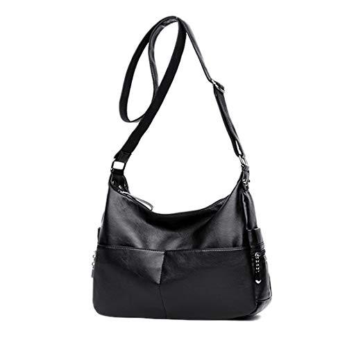 - Large Crossbody Bag Leparvi Purse Lady Double Zipper Shoulder Bag Hobo Style Women Tote HandBag For Work(Black)
