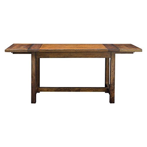c Antique Style Oak Wood Dining Table | Drop Leaf 6 Seat Adjustable Kitchen ()