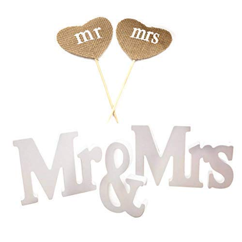 JMAF White Wood Sign Vintage Style Mr and Mrs Sign Mr & Mrs Wooden Letters Rustic Wedding Signs for Wedding Table,Photo Props,Party Table,Top Dinner,Rustic Wedding Decorations