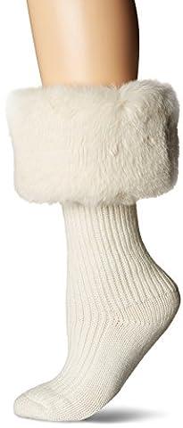 UGG Women's Faux Fur Cuff Tall Rainboot Sock, Cream, O/S - Faux Ugg Boots