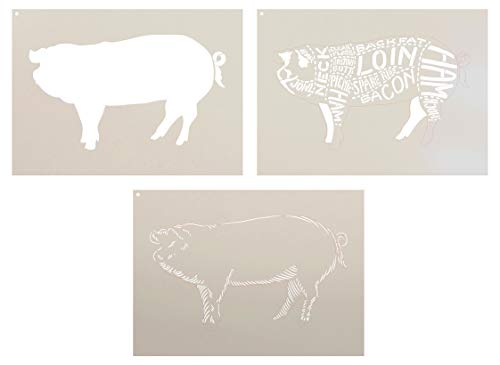 Cuts of Pork Stencil - 3 Part by StudioR12 | Reusable Mylar Template | Use to Paint Wood Signs - Pallets - Butcher Shop - DIY Country Decor - Select Size (18