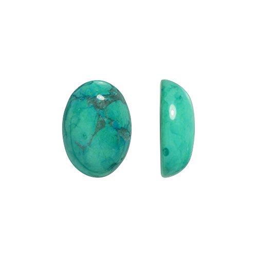 Beadaholique Chinese Turquoise Dyed Howlite Gemstone Oval Flat-Back Cabochons 14x10mm (4) Flat Oval Shape