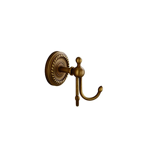 Kelelife Robe Hook Antique Brass Double Towel Hook, Wall Mounted Coat Clothes Hanger with Braiding Carvings for Wardrobe Bathroom Bedroom, Vintage Style
