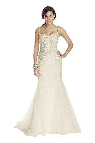 Lace Spaghetti Strap Trumpet Wedding Dress