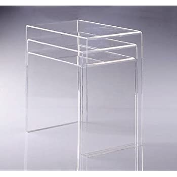 Amazon displaygifts ac tb1 clear acrylic nesting table coffee modern acrylic nesting end table coffee table 3pc lucite side home watchthetrailerfo