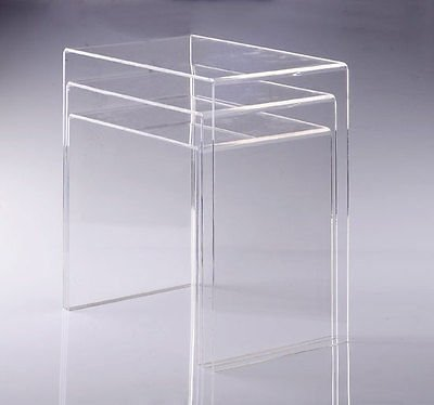 Modern Acrylic Nesting End Table Coffee Table 3pc Lucite Side Home (Chairs Unusual Lounge Chaise)