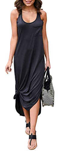 BTFBM Women Long Dress Sleeveless Tank Top Racerback Side Knot Hem Split Plain Maxi Dresses with Pocket (Dark Grey, Medium)