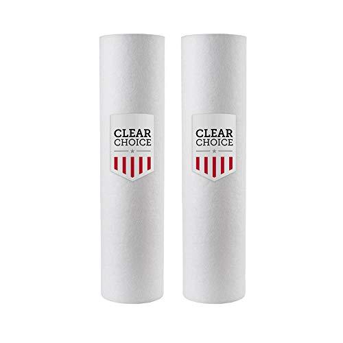 Clear Choice Sediment Filter Cartridge 10in X 2.50in Replacement for Everpure DEV9109-07, AquaPure AP1001, Cuno AP1001 AP1003, Pentair DEV9109-07, Pentek 155225-43 P1, 2-Pk