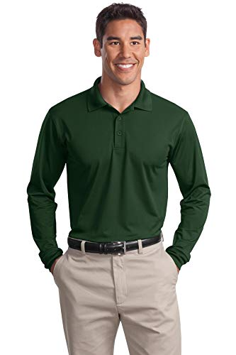 Sport-Tek Long Sleeve Micropique Sport-Wick Polo. ST657 Forest Green L