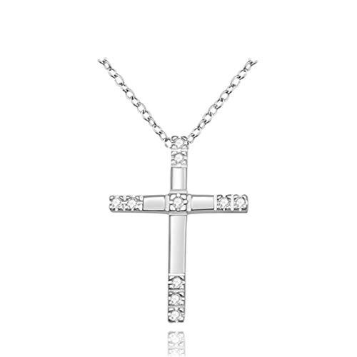 NEW Arrive Best Sale Silver Plated Engagement Zircon CRYSTAL Wedding WOMEN Girl Cross Necklace Hot Sale White Silver Plated (White Engagement Necklace)