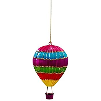 Amazon.com: Santa in Hot Air Balloon Holiday Christmas Ornament ...