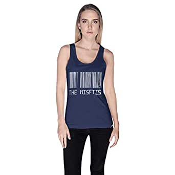 Creo Blue Cotton Round Neck Tank Top For Women